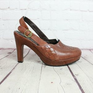 Cole Haan Leather Slingback Heeled Clogs